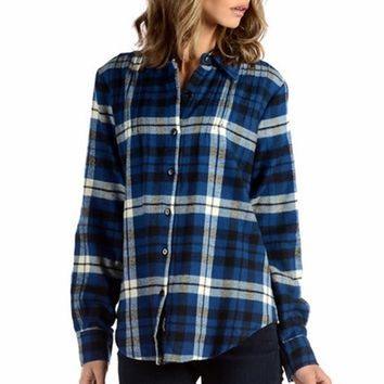 Tolani Ava Printed Plaid Shirt in Blue