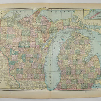 Michigan Map Wisconsin Upper Peninsula Map 1902 Original Antique Map, Kansas Nebraska Map, Vintage Art Map Wedding Gift for Couple