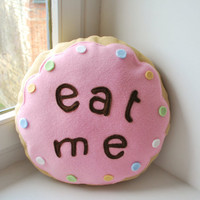 Alice biscuit pillow   Eat me round pink by Thebatinthehat on Etsy