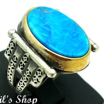 Men's Ring, Turkish Ottoman Style Jewelry, 925 Sterling Silver, Gift, Traditional Handmade, WithTurquoise Stone, US Size 9.5, New