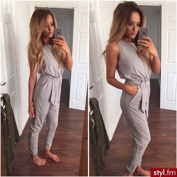 Gray Sleeveless Bodycon Jumpsuit with Ribbon Belt