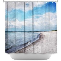 Shower Curtain Artistic Designer from DiaNoche Designs by Iris Lehnhardt Stylish, Decorative, Unique, Cool, Fun, Funky Bathroom - Blue White Skies