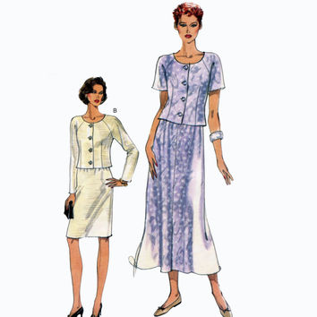 Koko Beall Misses/Petite Button Front Top Scoop Neck Straight or Flared Skirt Very Easy Vogue 8887 Bust 31.5-32.5-34 UNCUT Sewing Patterns