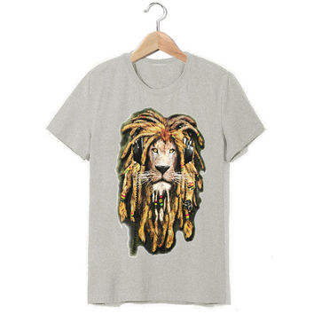 hand painted style reggae music lion bob marley t shirt