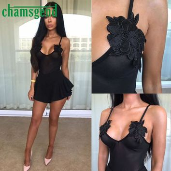 CHAMSGEND 2017 New Fashion Spandex Women Sleeveless Embroidered Floral Bodysuit Leotard Solid Jumpsuit  JUN05