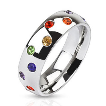 6mm Multi Paved Rainbow CZs Stainless Steel Dome Band Ring Guy Pride Band