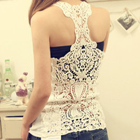 Lace Bottoming Vest Back Lace Crochet