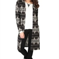 Long Sleeve Aztec Print Duster Cardigan with Hood