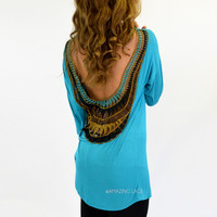 Sun Flare Jade Open Crochet Back Top