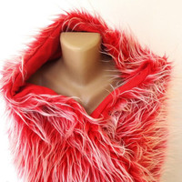 red faux fur scarf, shawl, winter scarf, plush faux fur scarves, shawomens fashion trends