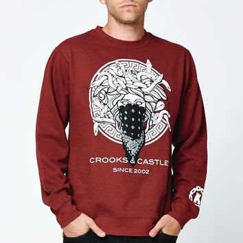 Crooks and Castles Greco Medusa Crew Neck Sweatshirt - Mens Hoodie - Maroon