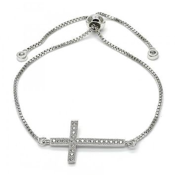 Rhodium Layered 03.205.0043.10 Fancy Bracelet, Cross Design, with White Micro Pave, Polished Finish, Rhodium Tone