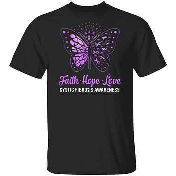 Faith Hope Love Purple Butterfly Cystic Fibrosis Awareness