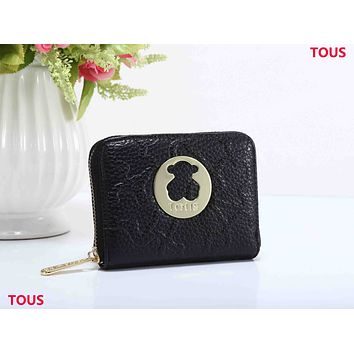 Tous Trending Women Leather Bear Pattern Zipper Purse Wallet Black I-XS-PJ-BB