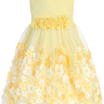 Girls Yellow Mesh Overlay Dress Taffeta & Chiffon Flowers 0-24m
