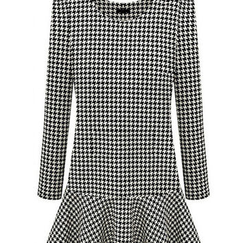 Houndstooth Long Sleeve Low Waist Skater Mini Dress