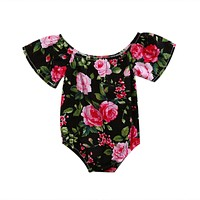 Newborn Infant Baby Girl Short Sleeve Floral Romper Jumpsuit Outfit