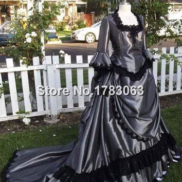 Victorian Steampunk Gown with Stripes Custom Colors Lace-Up Dress/Southern Belle Gown Reenactment Theater Costume