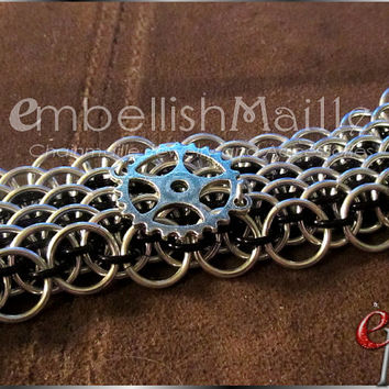 Steampunk inspired Dragonscale Chainmaille Bracelet / wrist cuff! Silver gear accent on medieval / renaissance dragonscale. For Him or Her!