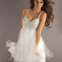 A-line Spaghetti Straps Tulle Short/Mini Homecoming Dress With Beading at Msdressy