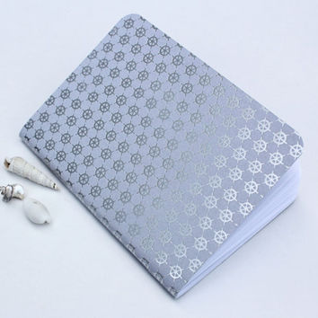 Silver Foil Helm Blue Gray Traveler's Notebook Journal Stationary Planner Insert Blank Pages Sketchbook