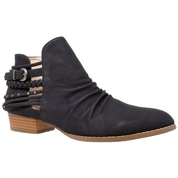 Womens Ankle Boots Western Block Heel Bootie Strappy Stud Buckle Shoes Black