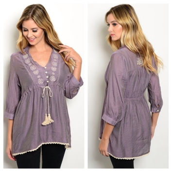 Lovely Mauve Beige Rope Tie Waist Top