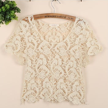 TP50 New Celebrity Style Women's Bohemian Vintage Lace Paisley Floral Crop Tees Tops T-Shirt Shirts Free Shipping