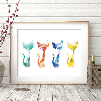 Printable Watercolor Cat Print. Cat lover print. Abstract cat art. Colorful cat print. Abstract Cat Print. Home wall art. Apartment wall art