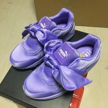 DCCKIJ2 Rihanna X Puma Fenty Basket Heart Patent Leather Casusal Sneaker Purple