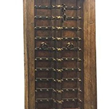 Antique Doors Chakra Grounding Rustic Patina Hand Carved Teak Door with Iron Straps