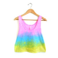 Splash Dyed Hand PAINTED Slouchy Scoop Neck Cropped Boxy Tank Top in Light Rainbow Sunset - S M L