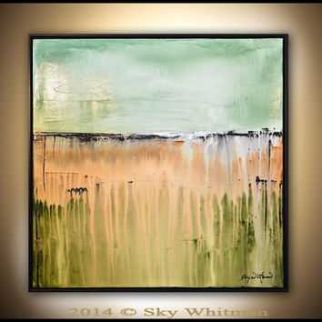 Framed Square Sage Painting Original Abstract Art  Modern Textured Oil Painting High Gloss Abstract by Sky Whitman