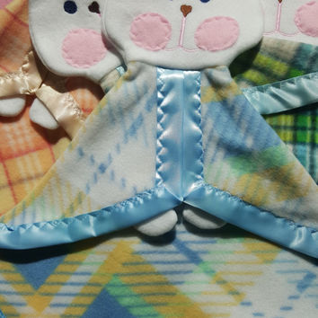 READY TO SHIP Blue Green Yellow Plaid Bunny Puppet Lovey Security Blanket