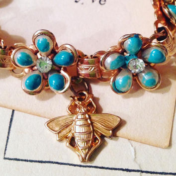 "Repurposed Vintage Charm Bracelet - ""Bee Happy"""