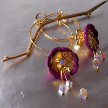 Dangle purple flowers earrings - big hoop earrings