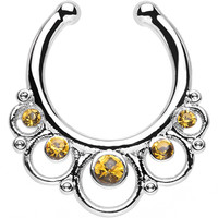 Yellow Topaz Gem Vintage Collar Non-Pierced Clip On Septum Ring | Body Candy Body Jewelry