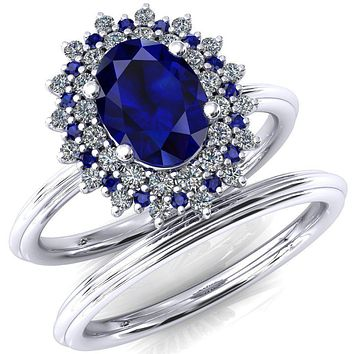 Eridanus Oval Lab-Created Blue Sapphire Cluster Diamond and Blue Sapphire Halo Wedding Ring ver.1