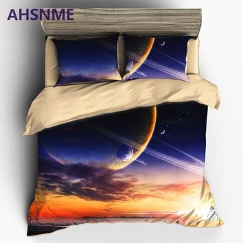 Cool AHSNME HD 3D Mysterious Galaxy Bedding Sets Universe Outer Space Themed Duvet Cover Set Bed sheet Pillowcase AU King Queen SizeAT_93_12