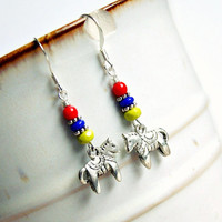 dala horse silver beaded drop earrings, colorful, hippie, boho, charm, french hook earrings