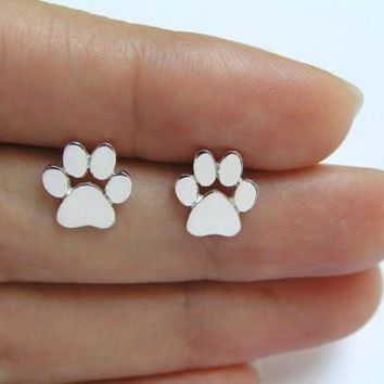 yiustar Cute Dog Paw Print Earrings for Women Cat and Dog Paw Stud Earrings part gifts ED124