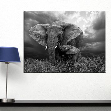 QKART Wall Art Elephant Print on Canvas Animal Wall Pictures for Living Room Home Decor Pictures Posters