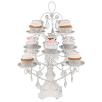 12-Piece Crystal-Draped Cupcake Stand | White | Madeleine Collection