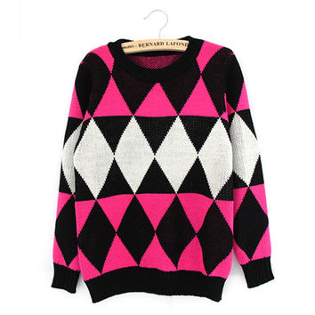 Winter Round-neck Long Sleeve Plaid Patchwork Pullover Knit Tops Sweater [8216433409]