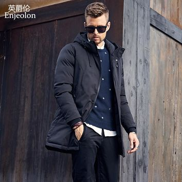 Cotton Padded long Jacket coat Men black Parka hoodies coat Thick Quilted fashion Coat Men