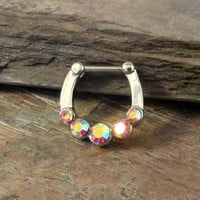 16 Gauge Sparkly Pink Septum Ring Clicker Daith Ring Nose Piercing