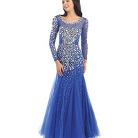 Blue Long Sleeve Beaded Trumpet Dress 2015 Prom Dresses
