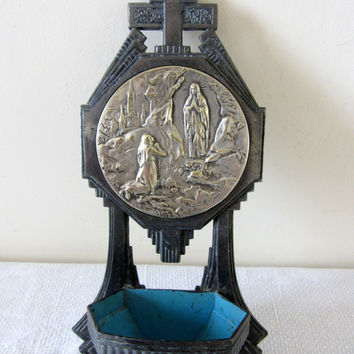 Vintage French Benitier Holy Water Font Art Deco