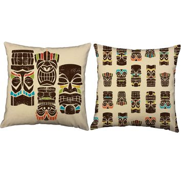 Tiki Men Throw Pillows