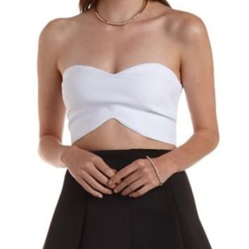 White Strapless Double Sweetheart Crop Top by Charlotte Russe
